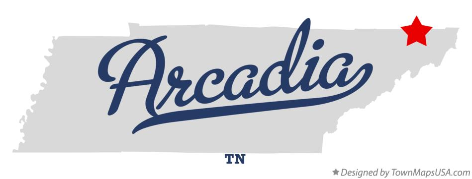 Map of Arcadia Tennessee TN