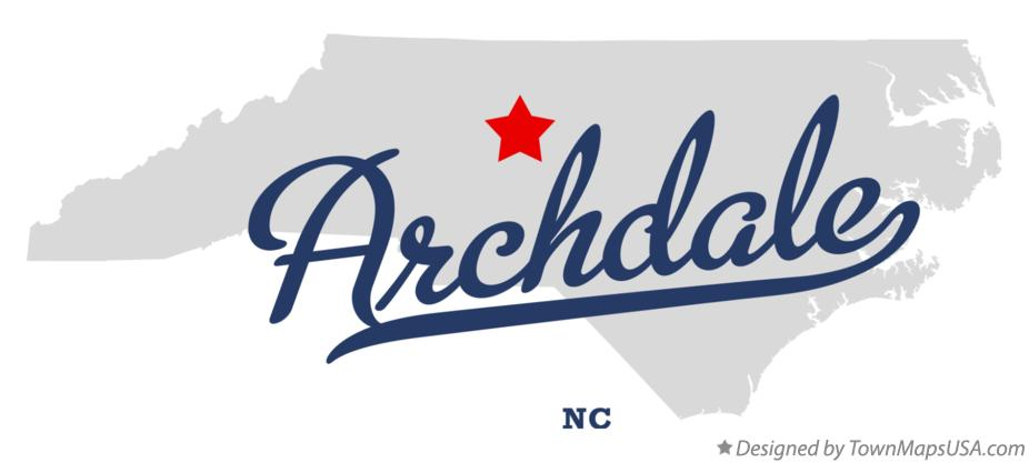 Map of Archdale, Randolph County, NC, North Carolina