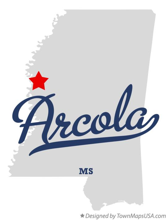Map of Arcola Mississippi MS