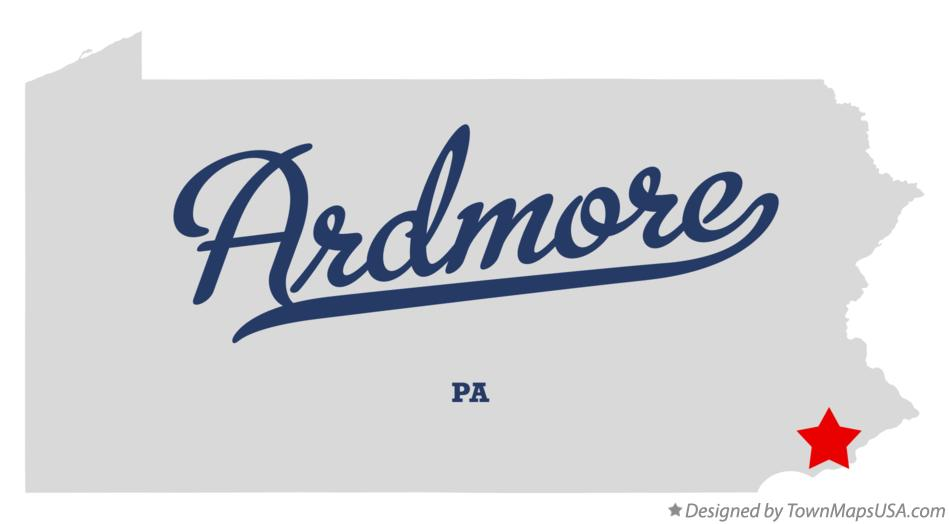 Map of Ardmore Pennsylvania PA