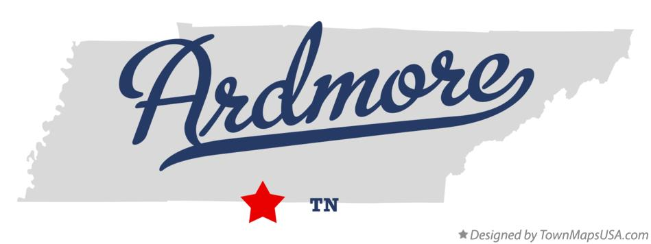 Map of Ardmore Tennessee TN