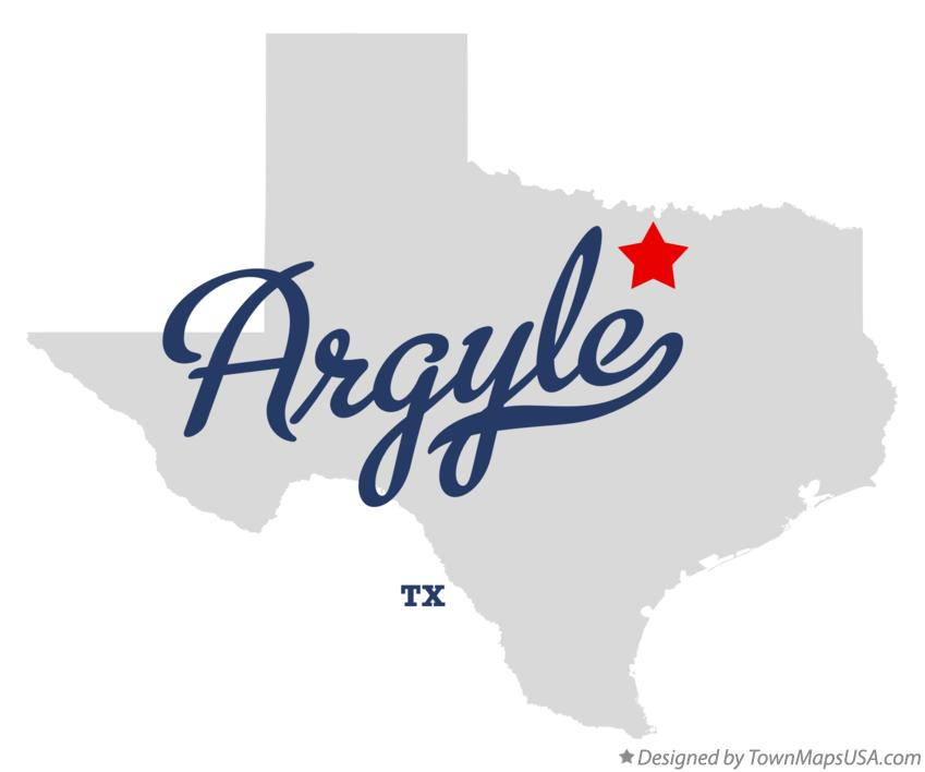 Map of Argyle Texas TX