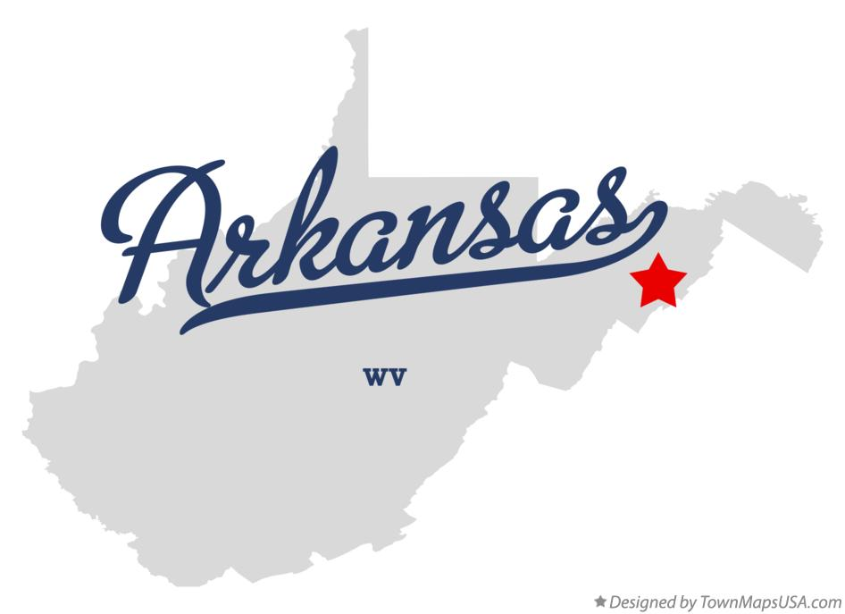 Map of Arkansas West Virginia WV