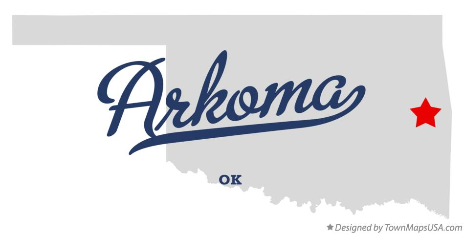 Map of Arkoma Oklahoma OK