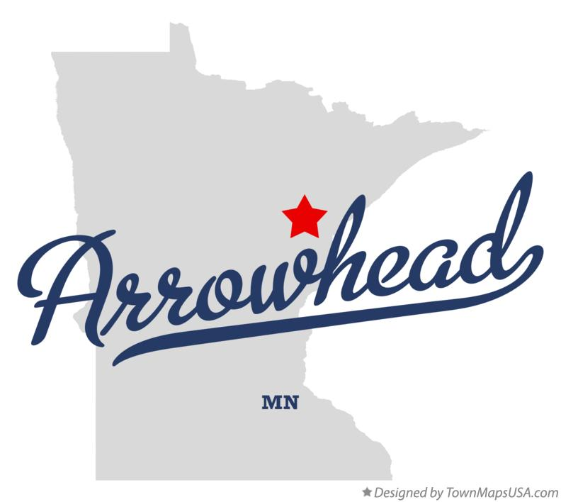Map of Arrowhead Minnesota MN