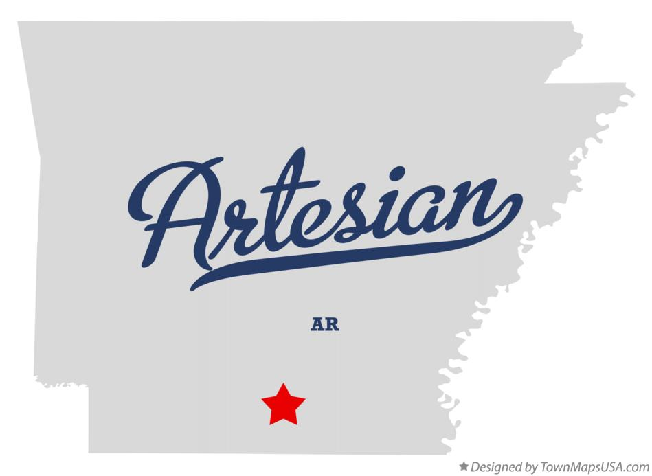 Map of Artesian Arkansas AR