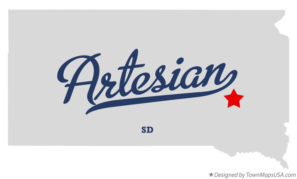 Map of Artesian South Dakota SD