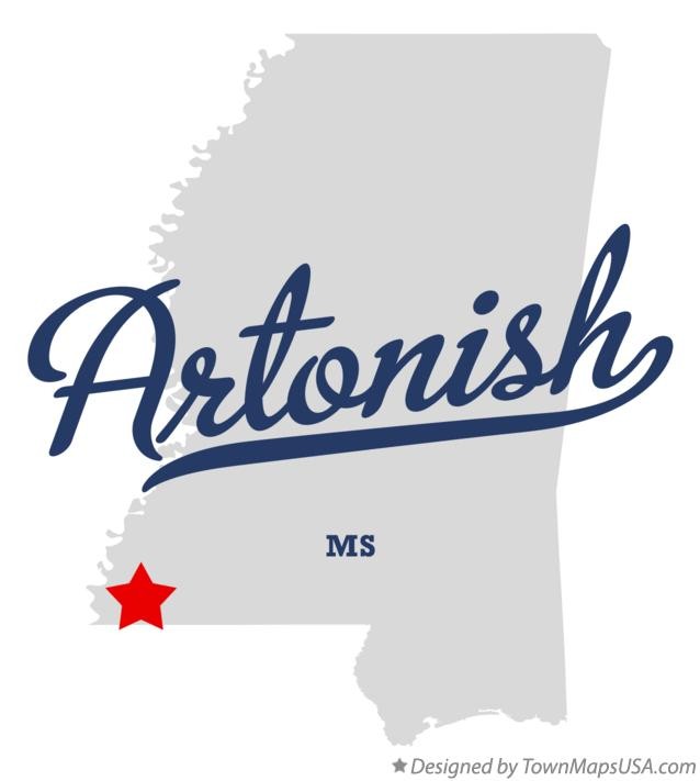 Map of Artonish Mississippi MS