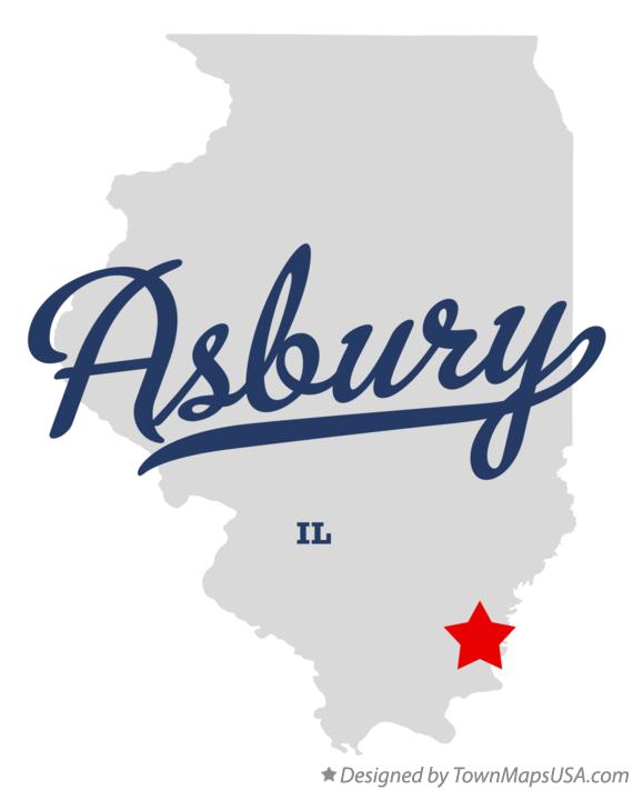 Map of Asbury Illinois IL