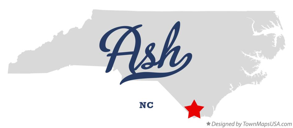 Map of Ash North Carolina NC