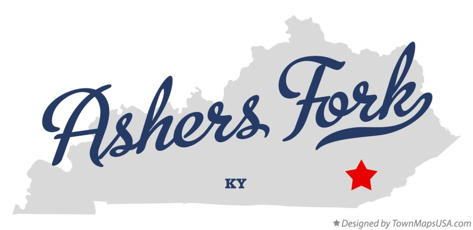 Map of Ashers Fork Kentucky KY