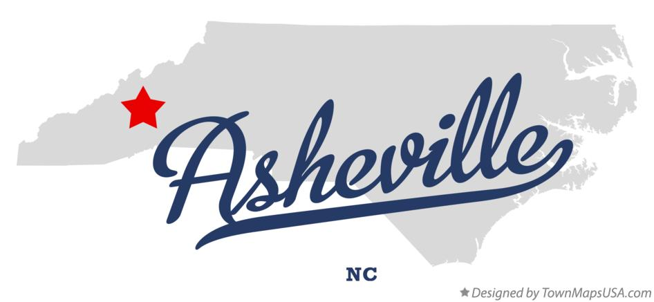 Map of Asheville NC North Carolina