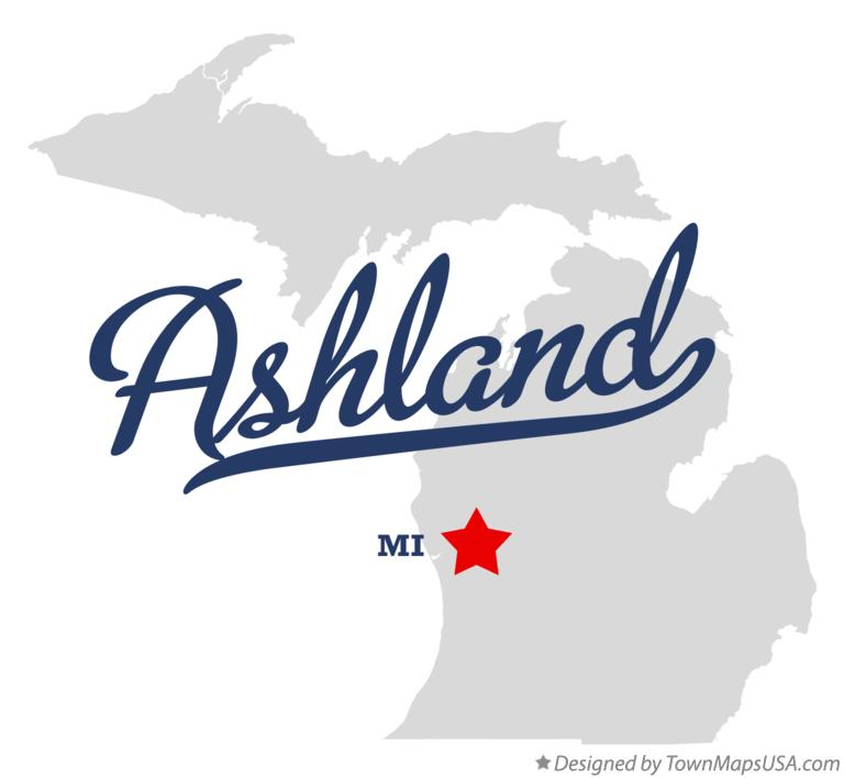 Map of Ashland Michigan MI