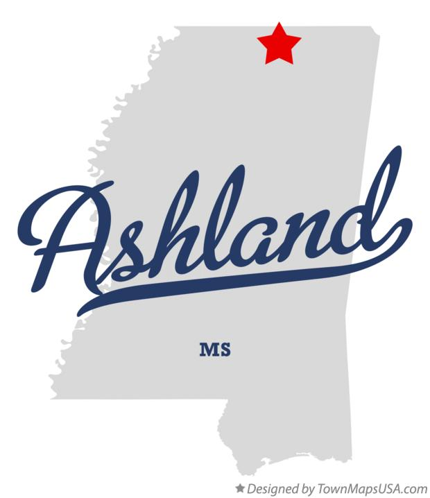 Map of Ashland Mississippi MS