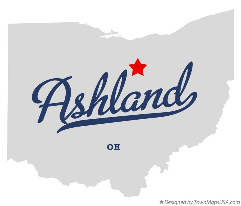 Map of Ashland Ohio OH