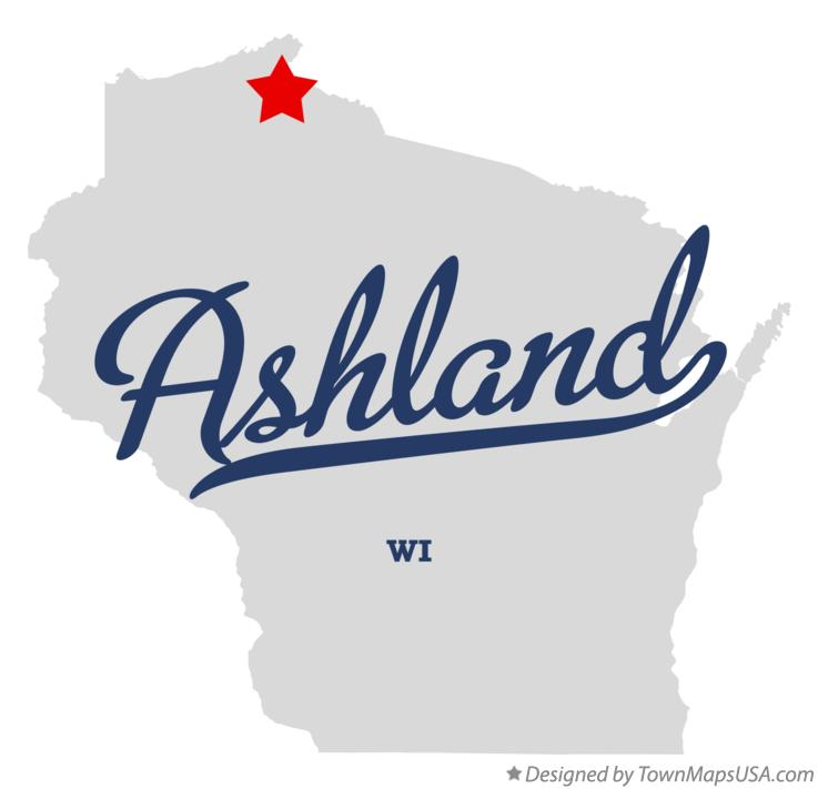 Map of Ashland Wisconsin WI