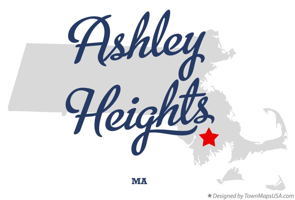 Map of Ashley Heights Massachusetts MA