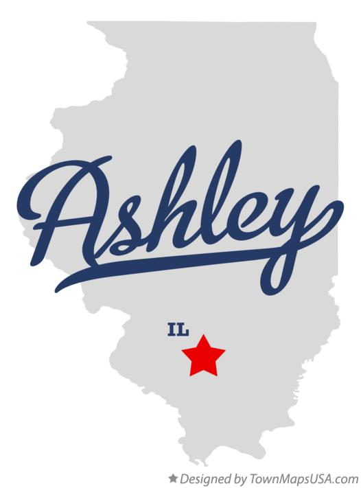Map of Ashley Illinois IL