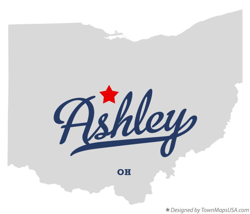 Map of Ashley Ohio OH