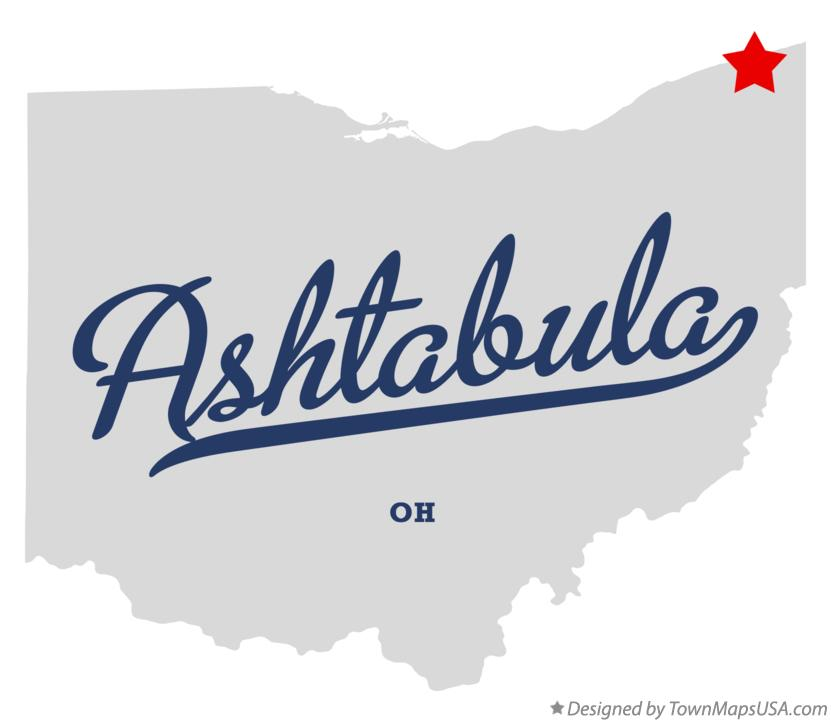 Map of Ashtabula Ohio OH