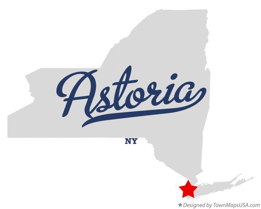Map of Astoria, NY, New York