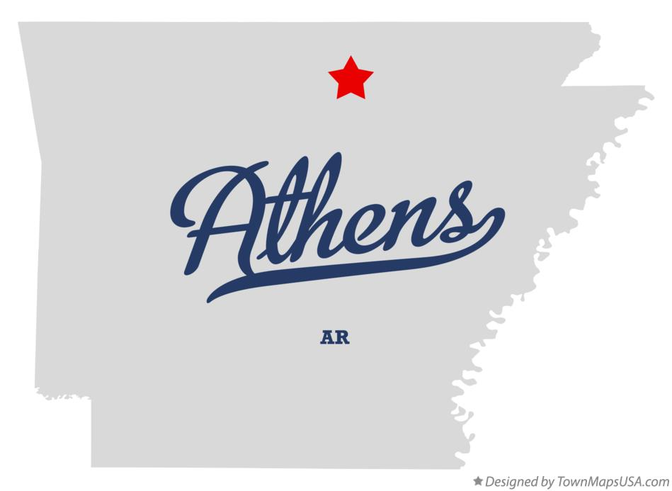 Map of Athens Arkansas AR