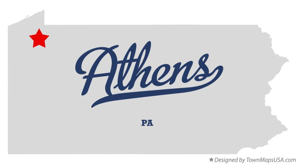 Map of Athens Pennsylvania PA