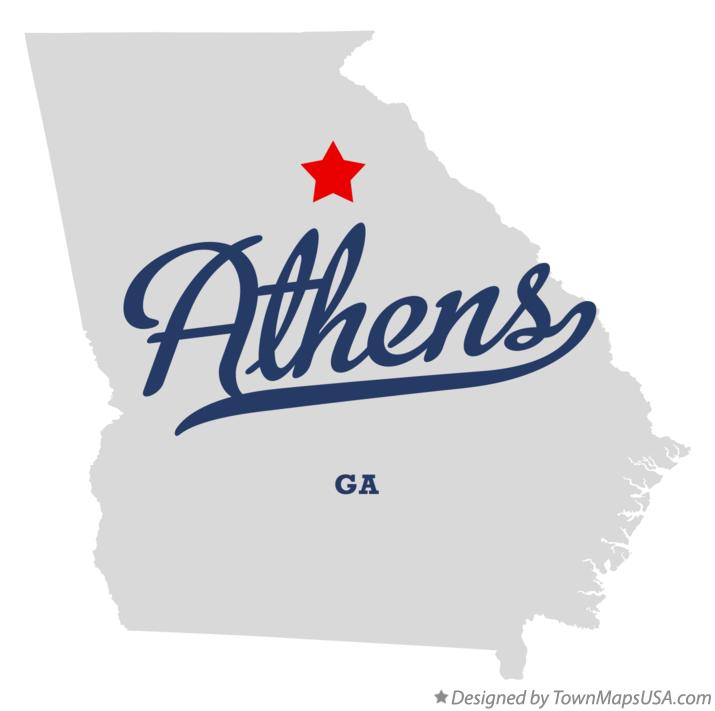 Map of Athens Georgia GA