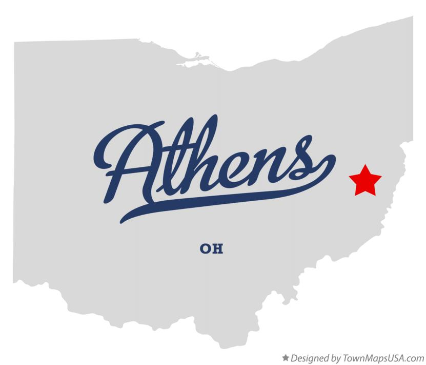 Map of Athens Ohio OH