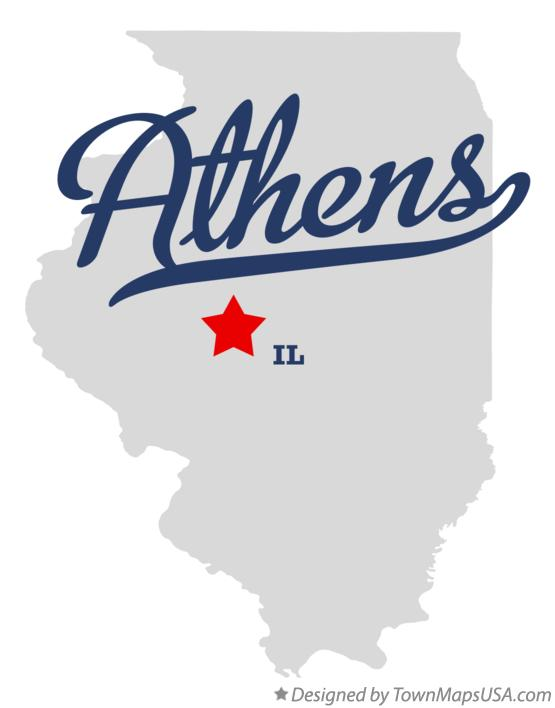 Map of Athens Illinois IL