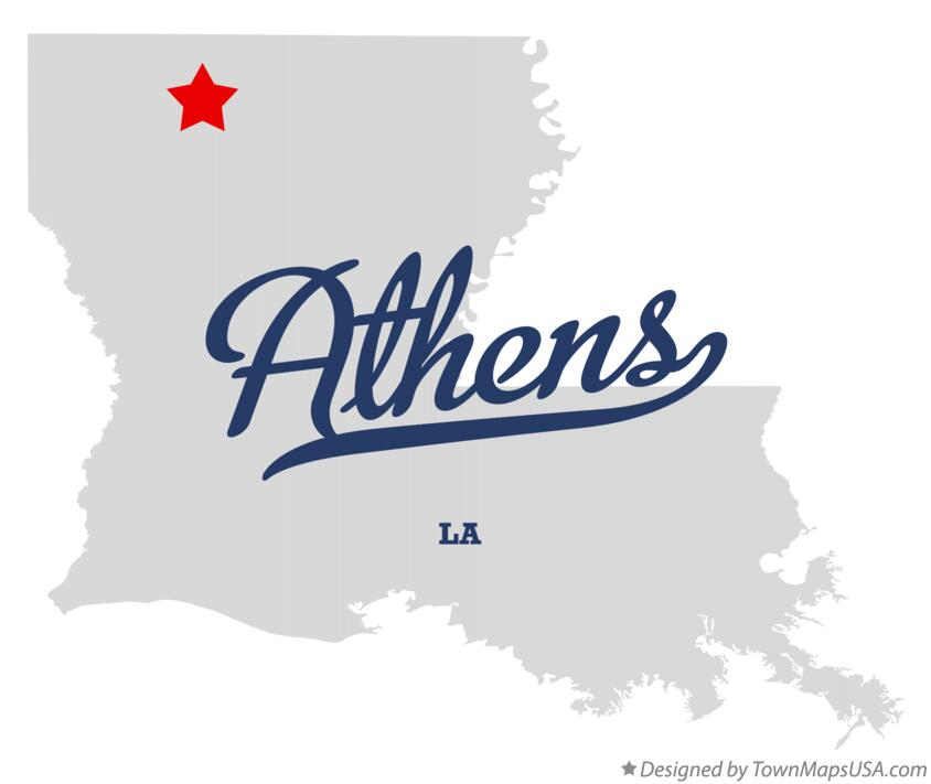 Map of Athens Louisiana LA