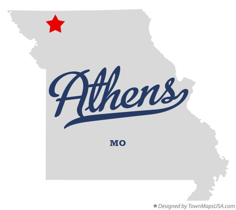 Map of Athens Missouri MO