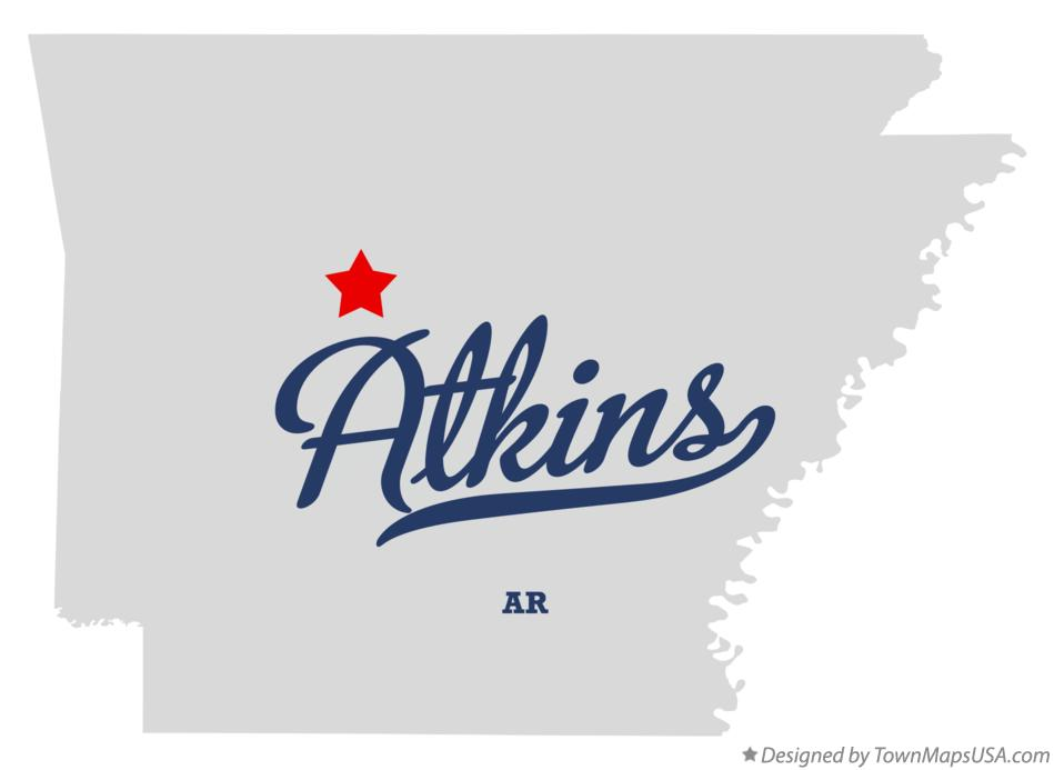 Map of Atkins Arkansas AR