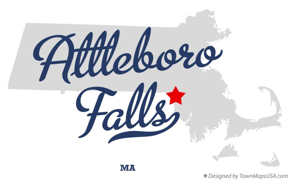 Map of Attleboro Falls Massachusetts MA