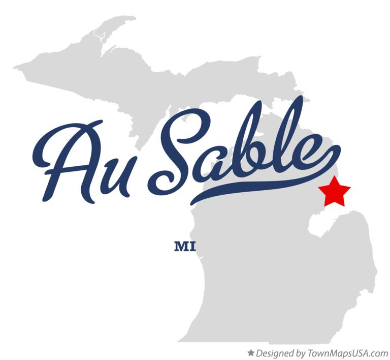 Map of Au Sable Michigan MI