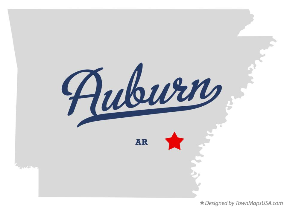 Map of Auburn Arkansas AR