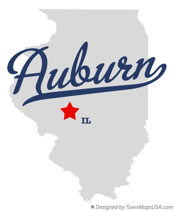 Map of Auburn Illinois IL
