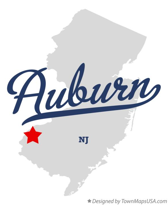 Map of Auburn New Jersey NJ