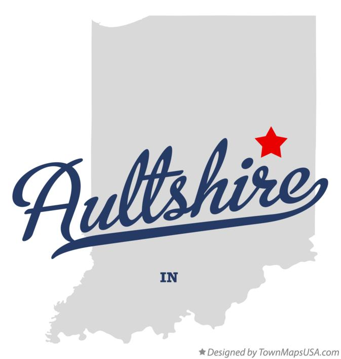 Map of Aultshire Indiana IN