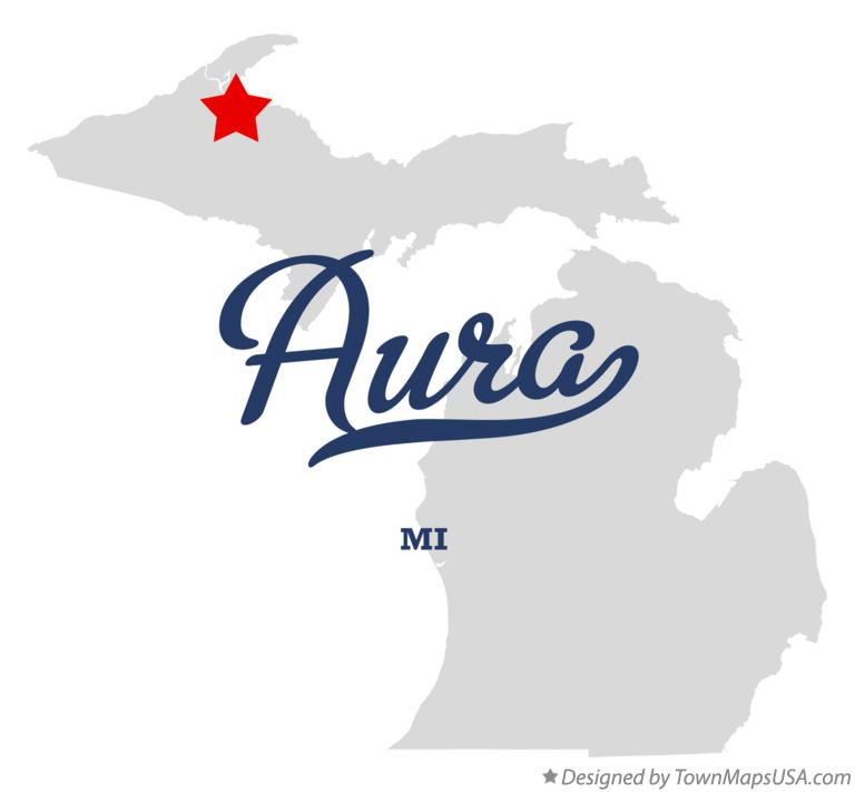 Map of Aura Michigan MI