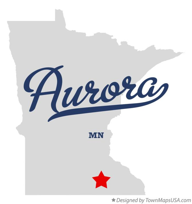 Map of Aurora Minnesota MN