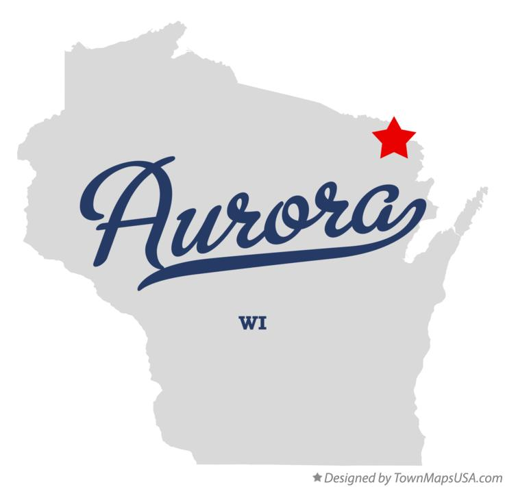 Map of Aurora Wisconsin WI