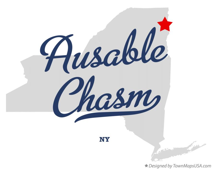Map of Ausable Chasm New York NY