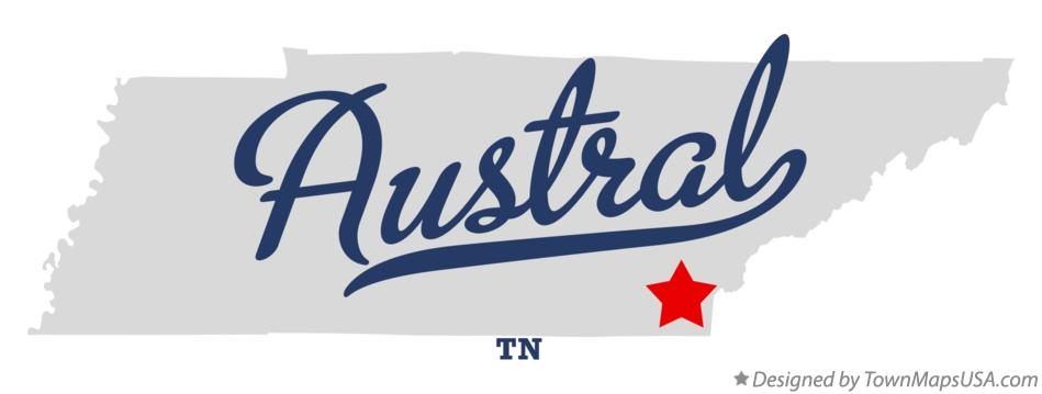 Map of Austral Tennessee TN