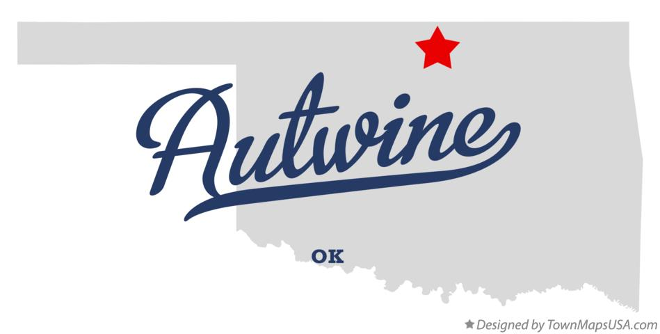 Map of Autwine Oklahoma OK