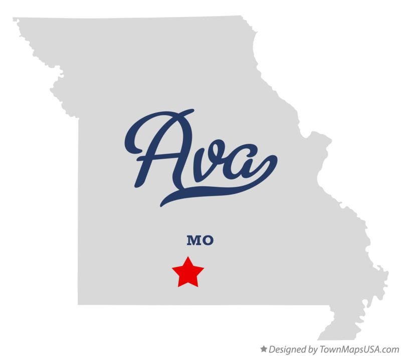 Map of Ava, MO, Missouri