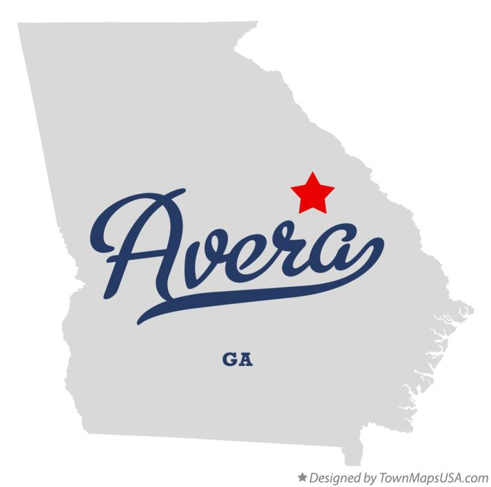 Map of Avera Georgia GA
