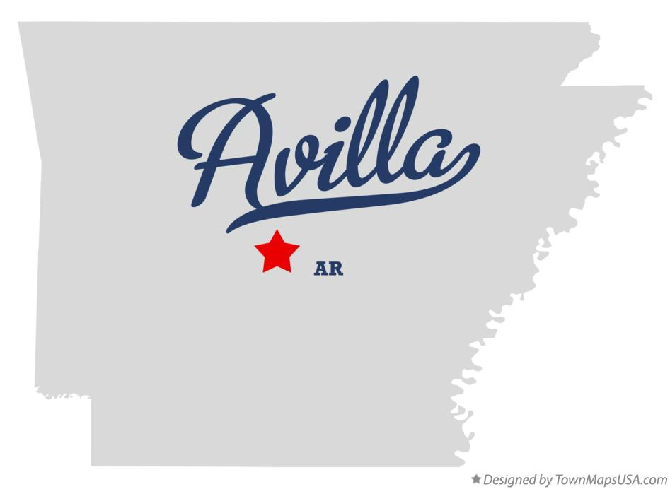 Map of Avilla Arkansas AR