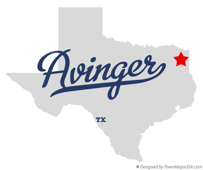 Map of Avinger Texas TX