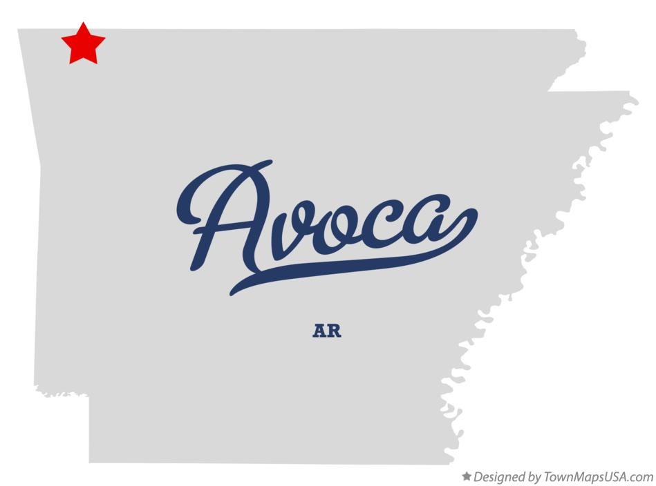 Map of Avoca Arkansas AR